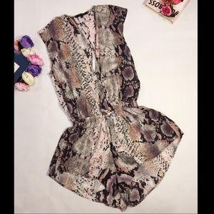 Olivaceous snake print romper jumpsuit high cut